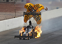 Apr. 6, 2013; Las Vegas, NV, USA: NHRA top fuel dragster driver Troy Buff has a fire during qualifying for the Summitracing.com Nationals at the Strip at Las Vegas Motor Speedway. Mandatory Credit: Mark J. Rebilas-
