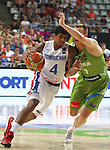 06.09.2014. Barcelona, Spain. 2014 FIBA Basketball World Cup, round of 16. Picture show E. Sosa and K. Prepelic in action during game between Dominican Republic  v Slovenia  at Palau St. Jordi