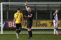 Robbie Willmott of Newport County receives a yellow card during the Sky Bet League Two match between Newport County and Morcambe at Rodney Parade, Newport, Wales, UK. 23 January 2018