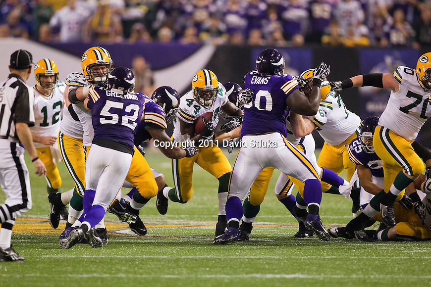 Green Bay Packers running back James Starks (44) carries the ball during a Week 7 NFL football game against the Minnesota Vikings on October 23, 2011 in Minneapolis, Minnesota. The Packers won 33-27. (AP Photo/David Stluka)