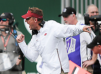 NWA Democrat-Gazette/CHARLIE KAIJO Arkansas Razorbacks head coach Chad Morris reacts after a play during the first quarter of a football game, Saturday, September 8, 2018 at Colorado State University in Fort Collins, Colo.