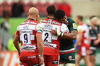 Motu Matu'u of Gloucester Rugby embraces Valentino Mapapalangi of Leicester Tigers after the match. Aviva Premiership match, between Leicester Tigers and Gloucester Rugby on September 16, 2017 at Welford Road in Leicester, England. Photo by: Patrick Khachfe / JMP