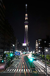 """May 24, 2012, Asakusa, Japan - Tokyo Skytree is illuminated in purple which expresses the Japanese aesthetic sense, elegant and dignified image of the tower. ..Tokyo Skytree has two lighting styles, the concept of the design is based on Japanese  aesthetic """"Miyabi"""" in purple and blue """"Iki"""" represents the essence of Kokoroiki. The tower opened to the public on May 22nd 2012 and at 634m is the worlds' 2nd tallest building and the worlds' tallest tower."""