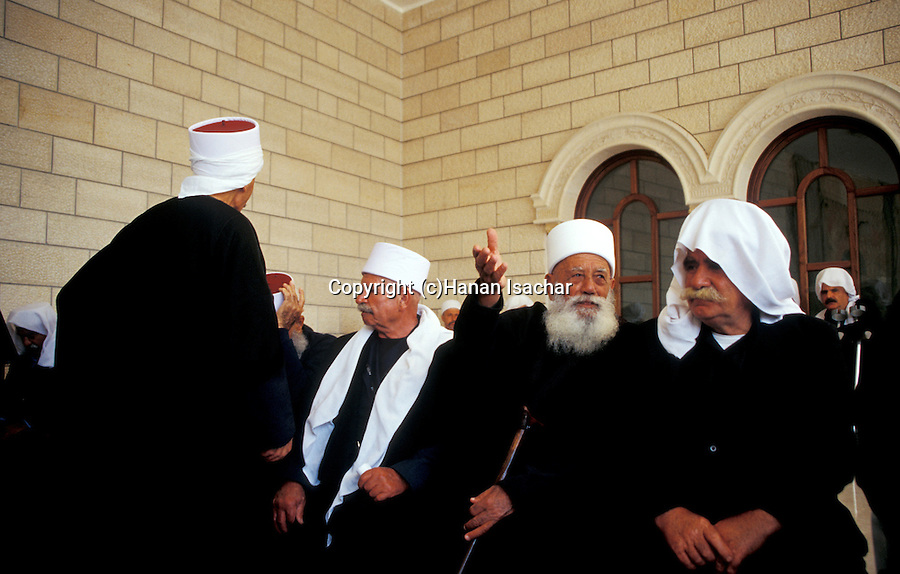 Israel, the lower Galilee. Druze elders at the annual pilgrimage to Nabi Shueib, the sacred site of the Druze, for here they venerate the tomb of Moses' father-in-law Jethro&#xA;<br />