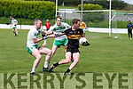Ballydonoghue V Currow: Currow's Seamus Brosnan wins the ball ahead of Ballydonoghue's Billy Foley & Michael Gogarty in the  County League Division 3 clash  at Coolard on Sunday last.