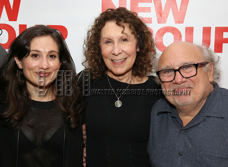 """Lucy Devito, Rhea Perlman and Danny Devito attends The New Group presents the New York Premiere Opening Night of David Rabe's for """"Good for Otto"""" on March 8, 2018 at the Green Fig Urban Eatery,  in New York City."""