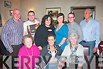NIFTY SURPRISE: Aileen Murphy Assad, Ballyseedy, Tralee (seated centre) got a fab surprise from her family on the occasion of her 50th birthday last Sunday night. Her hubby Charlietook her to Cassidy's restaurant, Abbey Square for a meal out and she got the shock of her life to find her mother Mary, sister Aileen and brother Robert and sons Rory and Mike..Aileen is daughter of Mary and the late Bob of the Imperial Hotel and niece of Tim Collins married to Therese in Clogherbrien.  Front l-r: Mary Murphy, Aileen Murphy-Assad and Quinie Conroy. Standing l-r: Robert Murphy, Rory Assad, Susie Murphy, Maeve O'Riordan, Michael and Charlie Assad.