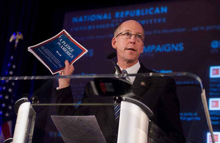 UNITED STATES - NOVEMBER 02:  Rep. Greg Walden, R-Ore. addresses the crowd at an NRCC Election Night Watch party at the Grand Hyatt Hotel.  (Photo By Tom Williams/Roll Call via Getty Images)