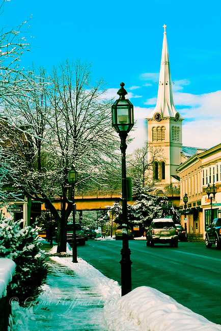 Winter scene of Winchester, MA