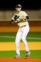 Relief pitcher Justin Van Grouw #30 of the Wake Forest Demon Deacons in action against the Northwestern Wildcats at Gene Hooks Field on February 26, 2011 in Winston-Salem, North Carolina.  Photo by Brian Westerholt / Four Seam Images