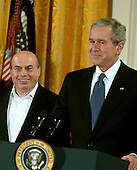 "Washington, D.C. - December 15, 2006 -- Natan Sharansky  smiles as United States President George W. Bush arrives prior to receiving the Presidential Medal of Freedom from the President and first lady Laura Bush during a ceremony in the East Room of the White House on Friday, December 15, 2006.  The medal is the nation's highest civil award.  It may be awarded ""to any person who has made an especially meritorious contribution to (1) the security or national interests of the United States, or, (2) world peace, or (3) cultural or other significant public or private endeavors"".  Natan Sharansky's life is the story of good conquering evil and an illustration of the strength of the human spirit.  Imprisoned by the Soviet regime for his work to advance religious liberty and human rights, he spent nine years in the gulag.  Following his immigration to Israel, he served with distinction in that nation's government.  He remains a powerful champion of the principles that all people deserve to live in freedom and that the advance of liberty is critical to peace and security around the world.  The United States honors Natan Sharansky for his contributions to and sacrifices for the cause of democracy and freedom.<br /> Credit: Ron Sachs / CNP"