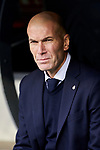 Zinedine Zidane coach of Real Madrid during La Liga match between Real Madrid and Atletico de Madrid at Santiago Bernabeu Stadium in Madrid, Spain. February 01, 2020. (ALTERPHOTOS/A. Perez Meca)
