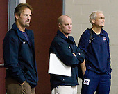 Mark Osiecki (US - Assistant Coach), John Hynes (US - Assistant Coach), Tim Taylor (US - Director-Player Personnel) - Team USA practiced on Thursday, August 13, 2009, in the USA (NHL-sized) Rink in Lake Placid, New York, during the 2009 USA Hockey National Junior Evaluation Camp.