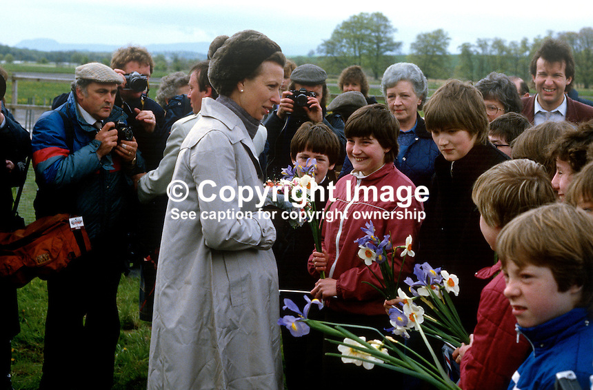 Princess Royal, Princess Anne, meets spectators at a Riding for the Disabled event in Co Fermanagh during a royal visit to N Ireland, May 1985. 19850503g..Copyright Image from Victor Patterson, 54 Dorchester Park, Belfast, UK, BT9 6RJ..Tel: +44 28 9066 1296.Mob: +44 7802 353836.Voicemail +44 20 8816 7153.Skype: victorpattersonbelfast.Email: victorpatterson@me.com.Email: victorpatterson@ireland.com (back-up)..IMPORTANT: If you wish to use this image or any other of my images please go to www.victorpatterson.com and click on the Terms & Conditions. Then contact me by email or phone with the reference number(s) of the image(s) concerned.