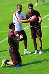 French Coach Rudi Garcia with AS Roma's Football players in action during the AS Roma football training camp at Pinzolo, on July 7, 2015.