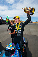 Jul 29, 2018; Sonoma, CA, USA; NHRA pro stock motorcycle rider L.E. Tonglet celebrates after winning the Sonoma Nationals at Sonoma Raceway. Mandatory Credit: Mark J. Rebilas-USA TODAY Sports