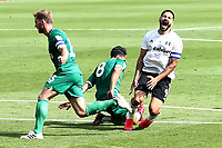 18th July 2020; Craven Cottage, London, England; English Championship Football, Fulham versus Sheffield Wednesday; Aleksandar Mitrovic of Fulham goes down injured from a challenge by Joey Pelupessy of Sheffield Wednesday
