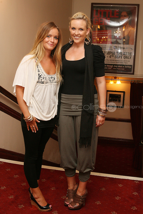 26/8/2010. NO REPRO FEE. Little Gem Opening night.  Niamh Ryan and Rachel Hussey are pictured at the Olympia Theatre Dublin for the opening night of Little Gem. Hilda Fay makes her return as Lorraine, Anita Reeves continues in the role of Kay, and Genevieve Hulme-Beaman takes on the role of Amber. After sell-out seasons in New York, London and Paris and a sold-out 7-week run at Ireland's National Theatre, Gúna Nua is bringing its bittersweet comedy Little Gem back to Dublin for 10 shows only at The Olympia Theatre from August 26 to September 4, 2010. Love, sex, birth, death, dildos and salsa classes: Elaine Murphy's award winning Little Gem sees three generations of Dublin women on a wild and constantly surprising journey. Picture James Horan/Collins Photos