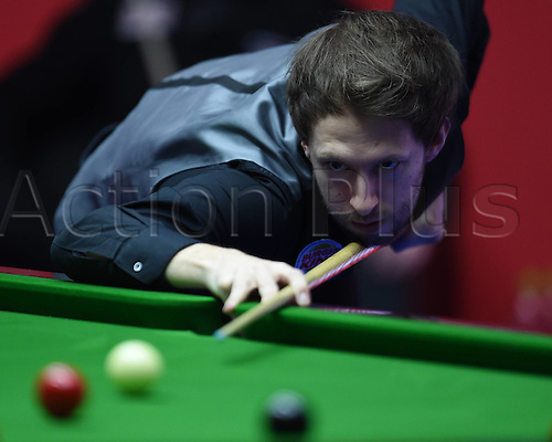 01.04.2016. Beijing, China.  Judd Trump of England prepares to take a shot during the match against Mark King of England at the 2016 World Snooker China Open in Beijing,  China, April 1, 2016.
