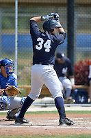 Third baseman Eric Jagielo (34) of the New York Yankees organization during a minor league spring training game against the Toronto Blue Jays on March 16, 2014 at the Englebert Minor League Complex in Dunedin, Florida.  (Mike Janes/Four Seam Images)