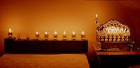 Two menorahs lit for the sixth night of Hanukkah.