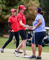 Catherine Bell of Canterbury celebrates winning her semi final match. Day Four of the Toro Interprovincial Women's Championship, Sherwood Golf Club, Whangarei,  New Zealand. Friday 8 December 2017. Photo: Simon Watts/www.bwmedia.co.nz