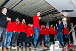 Glenbeigh/Glencar Captain Colin McGillicuddy and the team on stage at their homecoming in Glenbeigh on Monday night