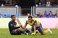 San Jose, CA - Sunday October 21, 2018: Danny Hoesen, Kortne Ford during a Major League Soccer (MLS) match between the San Jose Earthquakes and the Colorado Rapids at Avaya Stadium.
