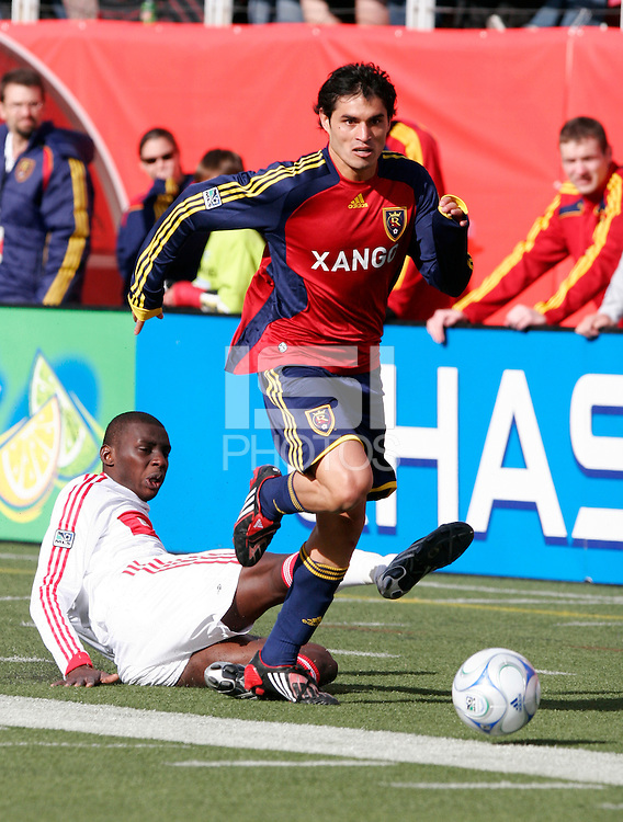 Bakary Sumare (4) of the Chicago Fire and Fabian Espindola (9) of Real Salt Lake. The Chicago Fire and Real Salt Lake played to a 1-1 tie during a Major League Soccer match at Rice-Eccles Stadium in Salt Lake City, Utah on March 29, 2008.
