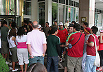 16 June 2006: Portugal fans crowd around the entrance of the hotel that their team is staying out hoping to see one of the players in Frankfurt, site of several games during the FIFA 2006 World Cup.