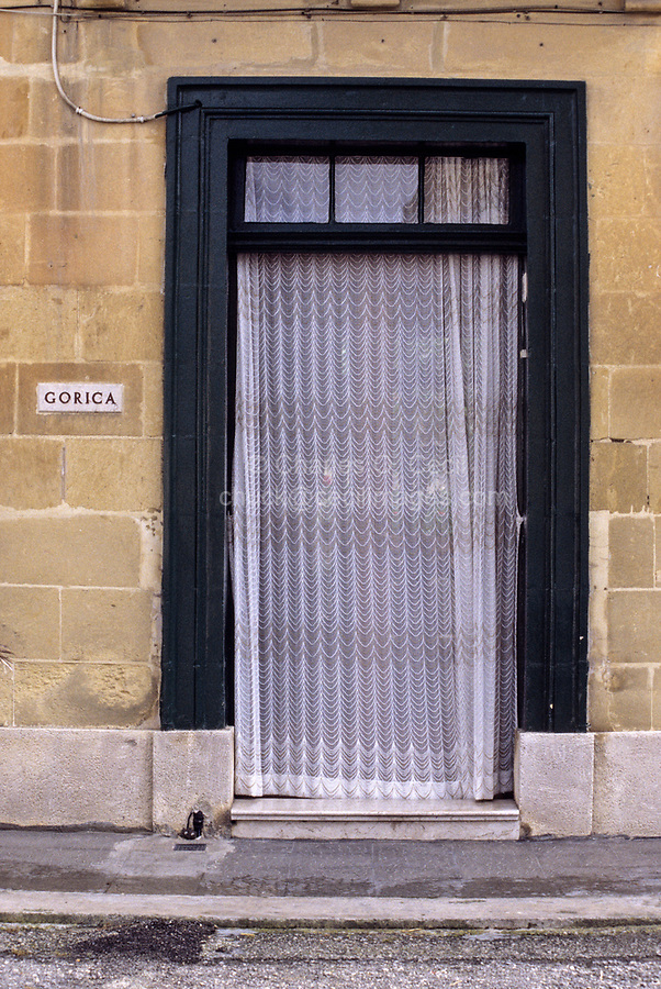 Victoria, Gozo. - Doorway and Lace Curtain, Private House.
