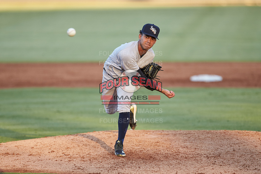 Scranton/Wilkes-Barre RailRiders starting pitcher Deivi Garcia (4) delivers a pitch to the plate against the Gwinnett Stripers at BB&T BallPark on August 18, 2019 in Lawrenceville, Georgia. The RailRiders defeated the Stripers 9-3. (Brian Westerholt/Four Seam Images)