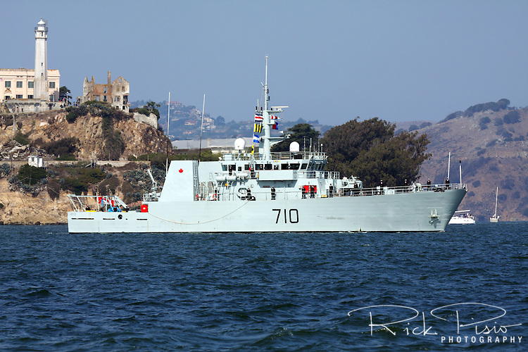 Canadian Navy Kingston class patrol Vessel HMCS Brandon (MM 710) passes Alcatraz Island on San Francisco Bay during the 2009 Fleet Week Parade of Ships. The Brandon was launched on 10 July 1998 and was officially commissioned into the Canadian Forces on 5 June 1999 and carries the pennant number 710. HMCS Brandon is assigned to Maritime Forces Pacific (MARPAC) and is homeported at CFB Esquimalt.