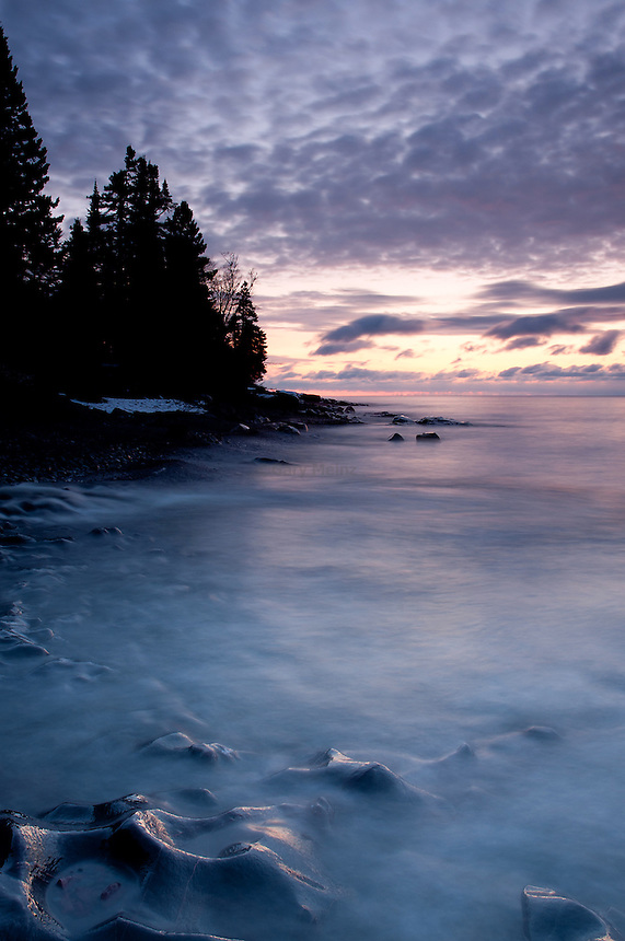 Pre sunrise as Cascade River flows into Lake Superior at Cascade River State Park, Minnesota.
