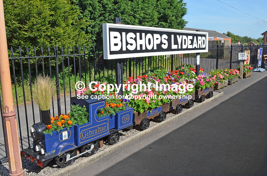 Logo, signage, station name, Bishops Lydeard, West Somerset Railway, UK, July, 2014, 201407093439<br />