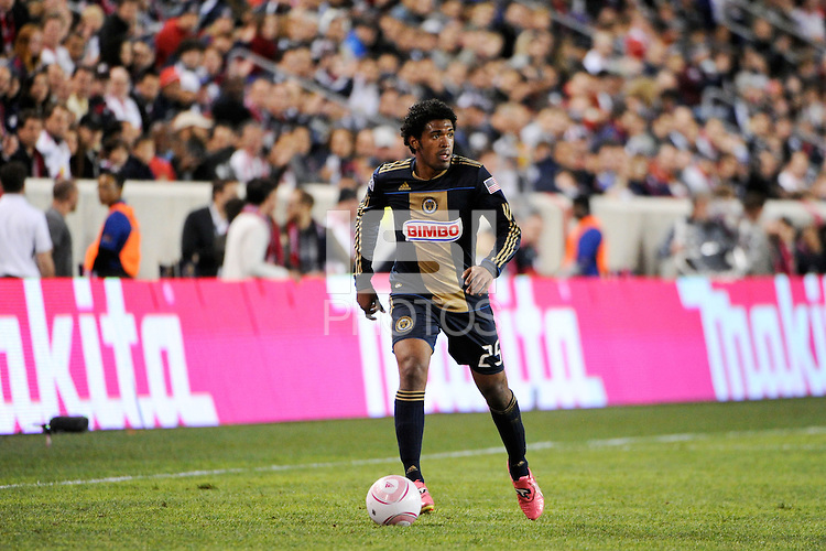 Sheanon Williams (25) of the Philadelphia Union. The New York Red Bulls defeated the Philadelphia Union  1-0 during a Major League Soccer (MLS) match at Red Bull Arena in Harrison, NJ, on October 20, 2011.