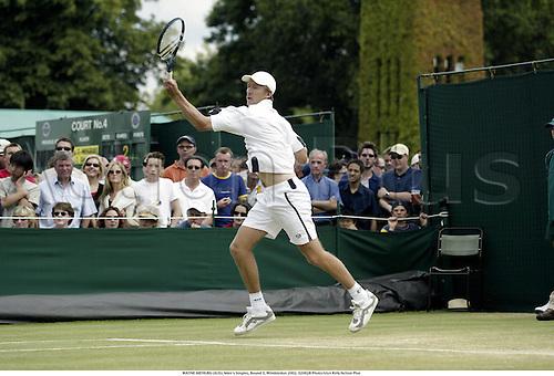 WAYNE ARTHURS (AUS), Men's Singles, Round 3, Wimbledon 2002, 020628 Photo:Glyn Kirk/Action Plus...Tennis.man