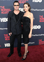 "NEW YORK CITY, NY, USA - MAY 12: Brad Pitt, Angelina Jolie at the New York Screening Of HBO's ""The Normal Heart"" held at the Ziegfeld Theater on May 12, 2014 in New York City, New York, United States. (Photo by Celebrity Monitor)"