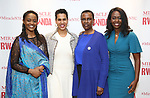 """Malaika Uwamahoro, Leslie Malaika Lewis, Valentine Rugwabiza, Rwanda Ambassador to the UN and Immaculee ILibagiza during a reception for  """"Miracle in Rwanda"""" honoring International Day of Reflection on the 1994 Genocide against the Tutsi in Rwanda at the Lion Theatre on Theater Row on April 7, 2019 in New York City."""
