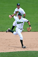 Jamestown Jammers shortstop Michael Fransoso (3) throws to first as second baseman Erik Lunde (6) backs up the play during a game against the Mahoning Valley Scrappers on June 16, 2014 at Russell Diethrick Park in Jamestown, New York.  Mahoning Valley defeated Jamestown 2-1.  (Mike Janes/Four Seam Images)