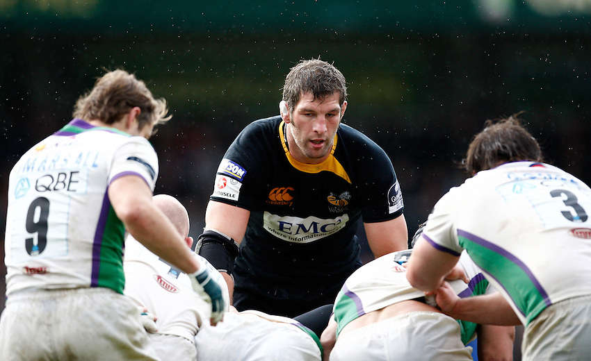 Photo: Richard Lane/Richard Lane Photography. London Wasps v Leeds Carnegie. Guinness Premiership. 01/11/2009. Wasps' Simon Shaw.