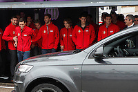 Real Madrid players Karim Benzema, Mesut Ozil, Fabio Coentrao, Sergio Ramos, Luka Modric, Nacho Fernandez and Iker Casillas participate and receive new Audi during the presentation of Real Madrid's new cars made by Audi at the Jarama racetrack on November 8, 2012 in Madrid, Spain.(ALTERPHOTOS/Harry S. Stamper) .<br />