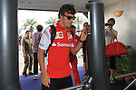 KUALA LUMPUR, MALAYSIA - MARCH 28: Ferrari driver Fernando Alonso of Spain  arrives at the paddock ahead of the first practice session during the Malaysia Formula One Grand Prix at the Sepang Circuit on March 28, 2014 in Kuala Lumpur, Malaysia. (Photo by PETER LIM/PhotoDesk.com.my)