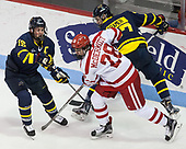 Jared Kolquist (Merrimack - 15), Johnny McDermott (BU - 28), Patrick Kramer (Merrimack - 27) - The visiting Merrimack College Warriors defeated the Boston University Terriers 4-1 to complete a regular season sweep on Friday, January 27, 2017, at Agganis Arena in Boston, Massachusetts.The visiting Merrimack College Warriors defeated the Boston University Terriers 4-1 to complete a regular season sweep on Friday, January 27, 2017, at Agganis Arena in Boston, Massachusetts.