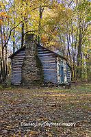 63895-16415 Cabin at Log Cabin Village in fall Kinmundy IL