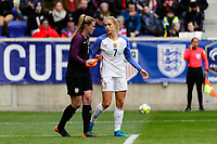 Harrison, NJ - Sunday March 04, 2018: Alyssa Naeher, Abby Dahlkemper during a 2018 SheBelieves Cup match match between the women's national teams of the United States (USA) and France (FRA) at Red Bull Arena.