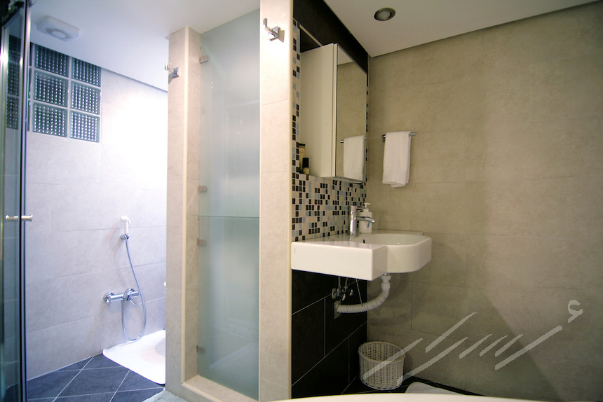 Interior views of a mid-high toilet design and finishing.