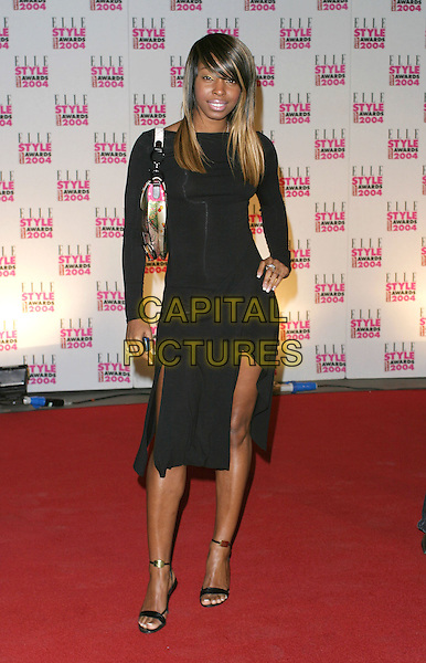SABRINA - MISTEEQ.Elle Style Awards at the Natural History Museum.16 February 2004.full length, full-length, little black dress, sandals.www.capitalpictures.com.sales@capitalpictures.com.©Capital Pictures