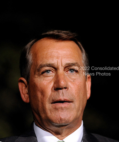 United States House Speaker John Boehner makes a statement after meeting with President Barack Obama at the White House, Wednesday, April 6, 2011 in Washington, DC. President Obama  invited back Speaker John Boehner and Senate Majority Leader Harry Reid for a late meeting Wednesday night to discuss ongoing ongoing negotiations on a funding bill to fund the U.S. Government through the end of the fiscal year..Credit: Olivier Douliery / Pool via CNP