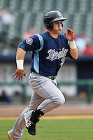 Corpus Christi Hooks outfielder Preston Tucker (33) runs to first during a game against the NW Arkansas Naturals on May 26, 2014 at Arvest Ballpark in Springdale, Arkansas.  NW Arkansas defeated Corpus Christi 5-3.  (Mike Janes/Four Seam Images)